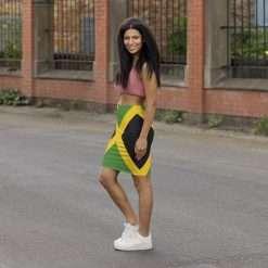 Jamaican Flag Women's Mini Pencil Skirt